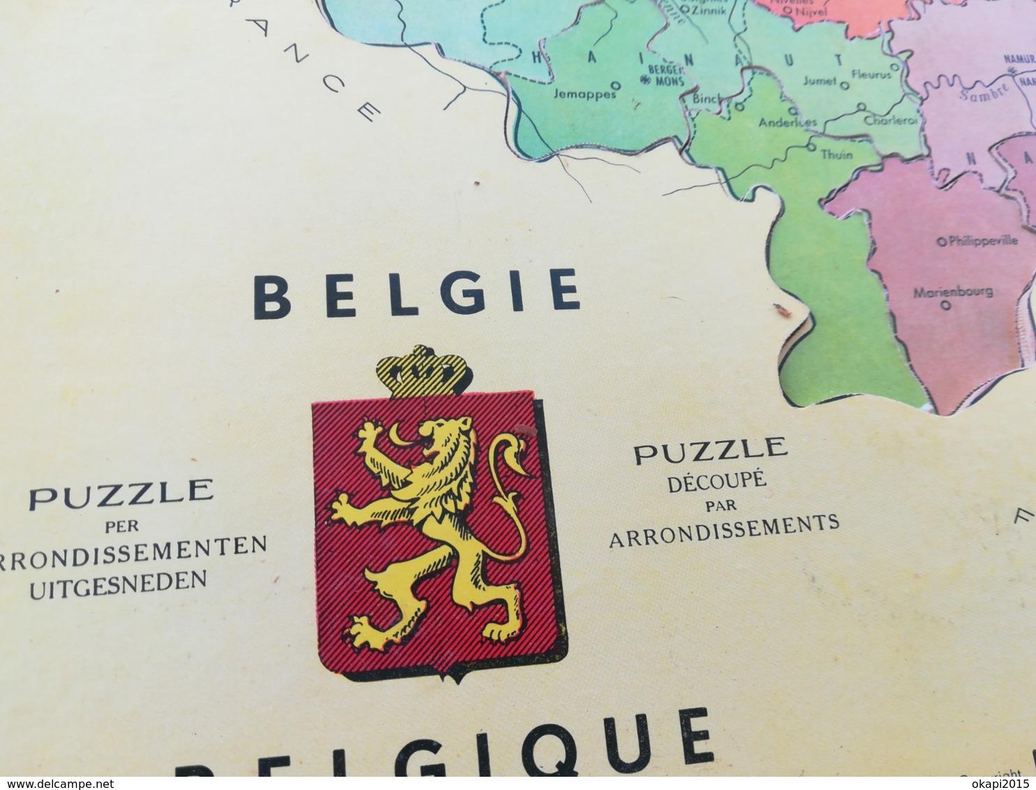 VIEUX PUZZLE EN BOIS CARTE DE LA BELGIQUE AVEC LES DIFFÉRENTES PROVINCES, COMPLET, MADE IN FRANCE - Puzzles