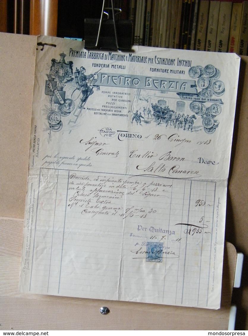 MONDOSORPRESA, (DC3) FATTURA, PIETRO BERZIA, MACCHINE E MATERIALI ESTIONCIONE INCENDI, TORINO 1913, MARCA DA BOLLO - Italia