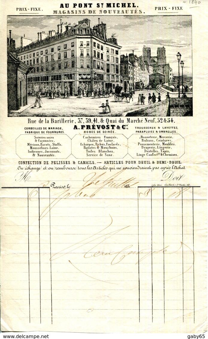 """PARIS.MAGASIN DE NOUVEAUTES """" AU PONT SAINT MICHEL """"A.PREVOST & Cie.37,39,41 RUE DE LA BARILLERIE.FACTURETTE 1840. - Textile & Vestimentaire"""