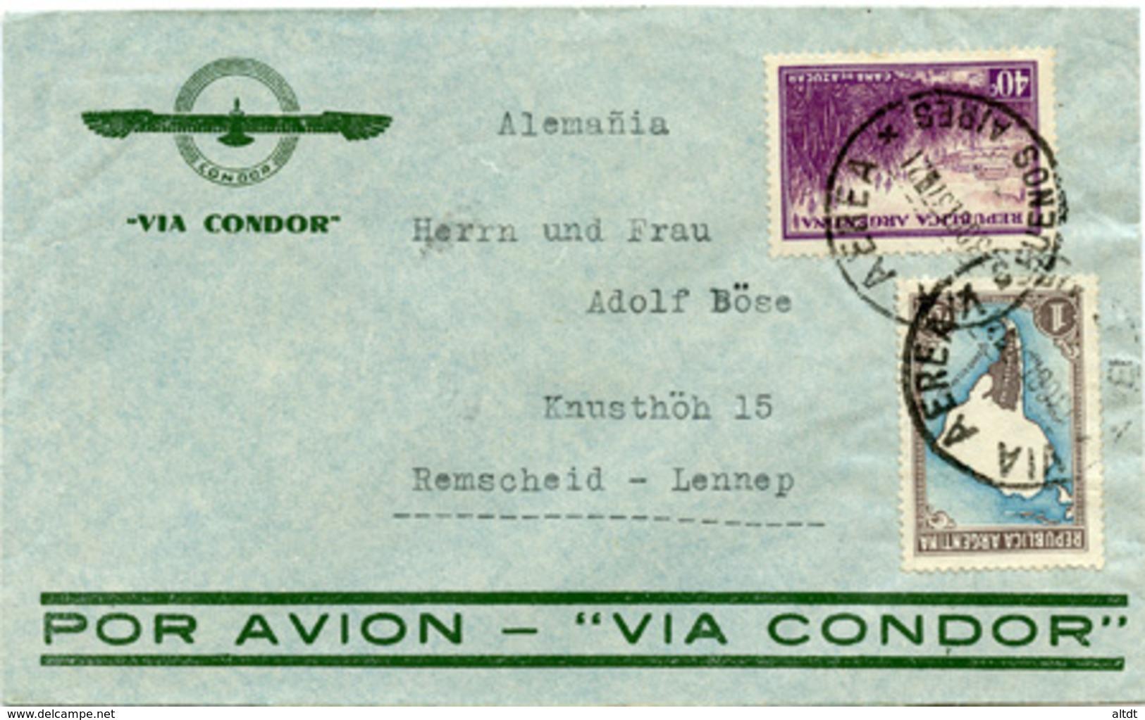 (e1164) Brief Argentinien St. Buones Aires N. Remscheid - Briefe U. Dokumente