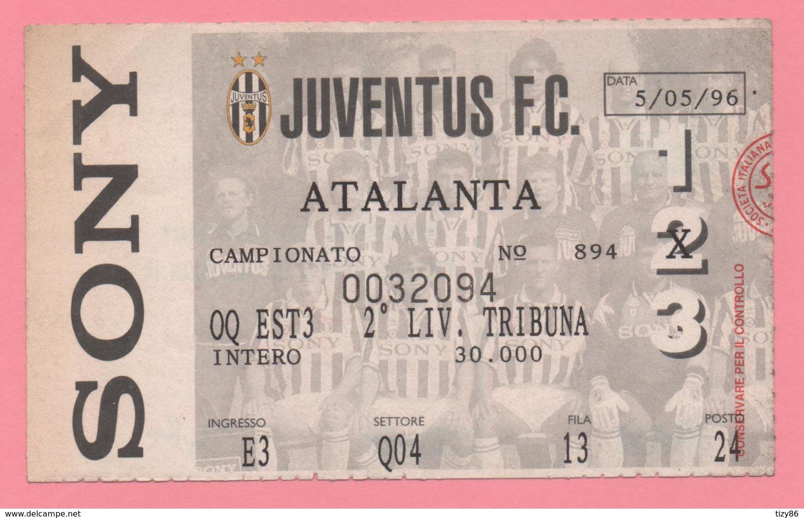 Biglietto D'ingresso Juventus F.C. Atalanta 1996 - Tickets - Entradas