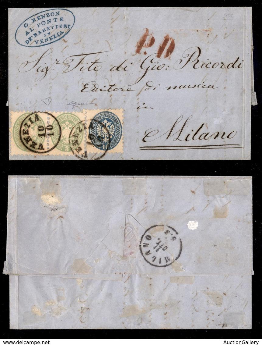 ANTICHI STATI ITALIANI - Lombardo Veneto - Bicolore - Coppia Del 3 Soldi (42) + 10 Soldi (44) - Lettera Da Venezia A Mil - Timbres