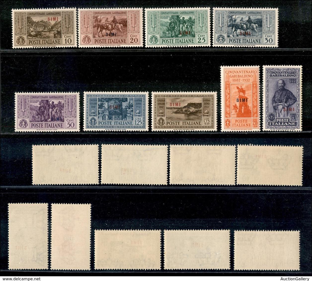 COLONIE - Egeo - Simi - 1932 - Garibaldi (17/21 + 23/26) - 9 Valori - Gomma Integra - Timbres