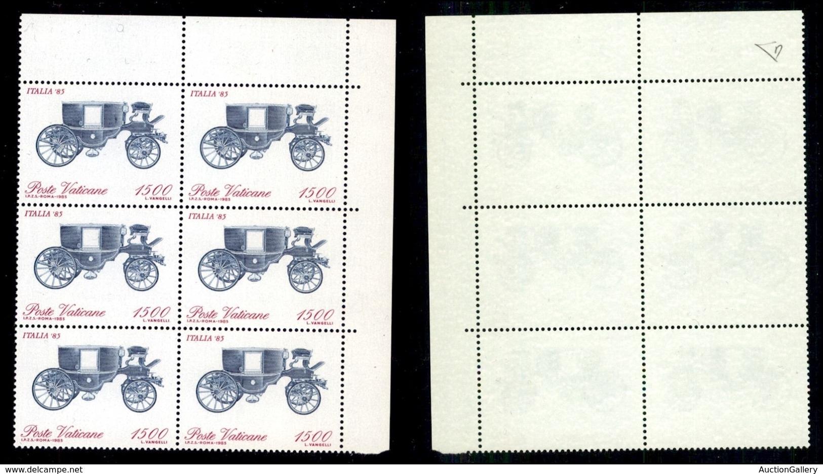 VATICANO - 1985 - 1500 Lire Italia 85 (785a) Con Carrozza In Alto - Blocco Angolare Di 6 - Gomma Integra - Cert. Diena ( - Stamps