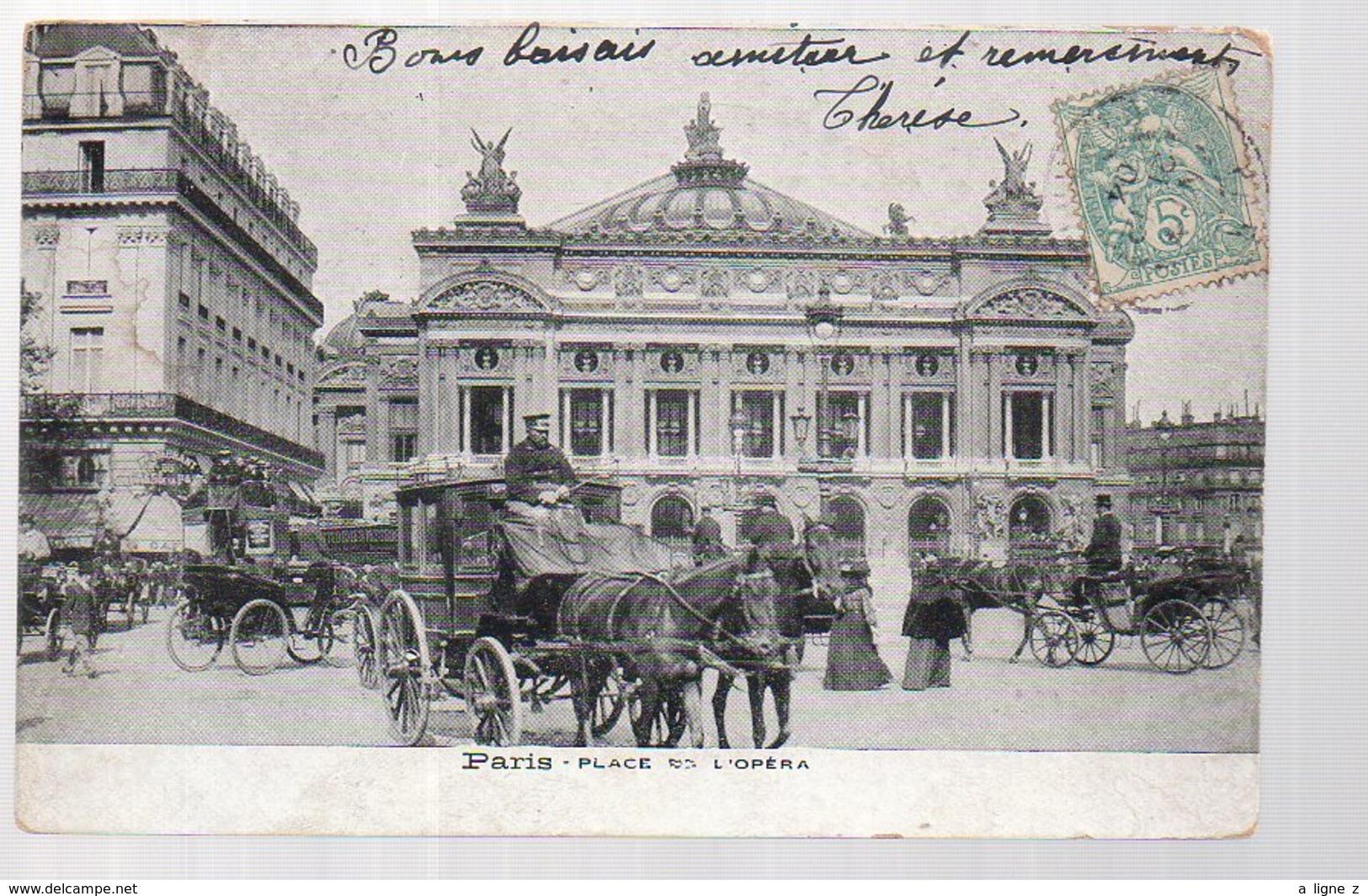 REF 365 : CPA 75 PARIS Opéra Beau Plan D'attelage Fiacre - Taxis & Cabs