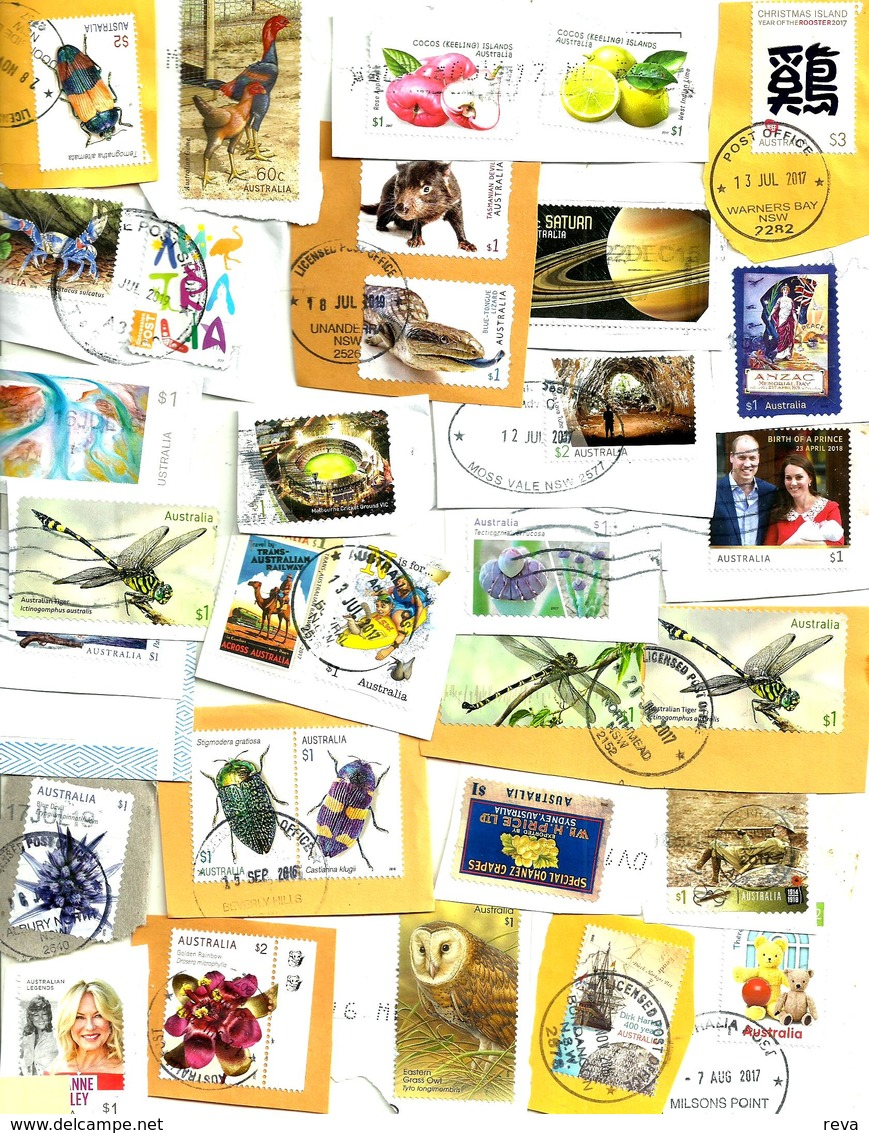 """AUSTRALIA LOT5 MIXTURE OF50+USED STAMPS SOME 2015/19 INC.NEW""""ANIMALS""""$1,,""""STADIUMS""""$1,ETC READ DESCRIPTION!! - Used Stamps"""