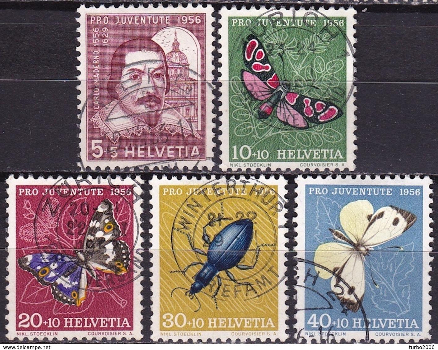 Switzerland / Schweiz / Suisse : 1956 Pro Juventute : Insekten / Schmetterlinge Gestempelter Satz  Michel 632 / 636 - Pro Juventute