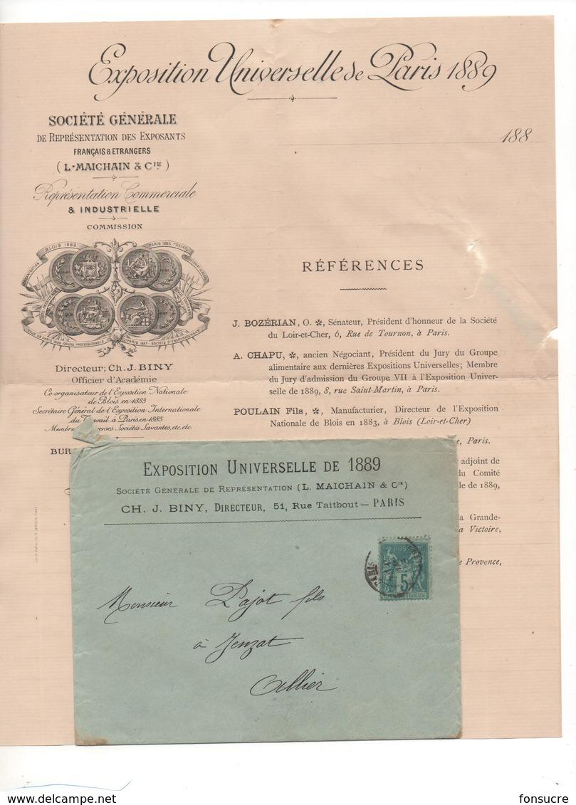 PJ11 Exposition Universelle Paris 1889 Cachet Société Générale Représentation Des Exposants L. MAICHAIN Filigramme JPW - Frankreich