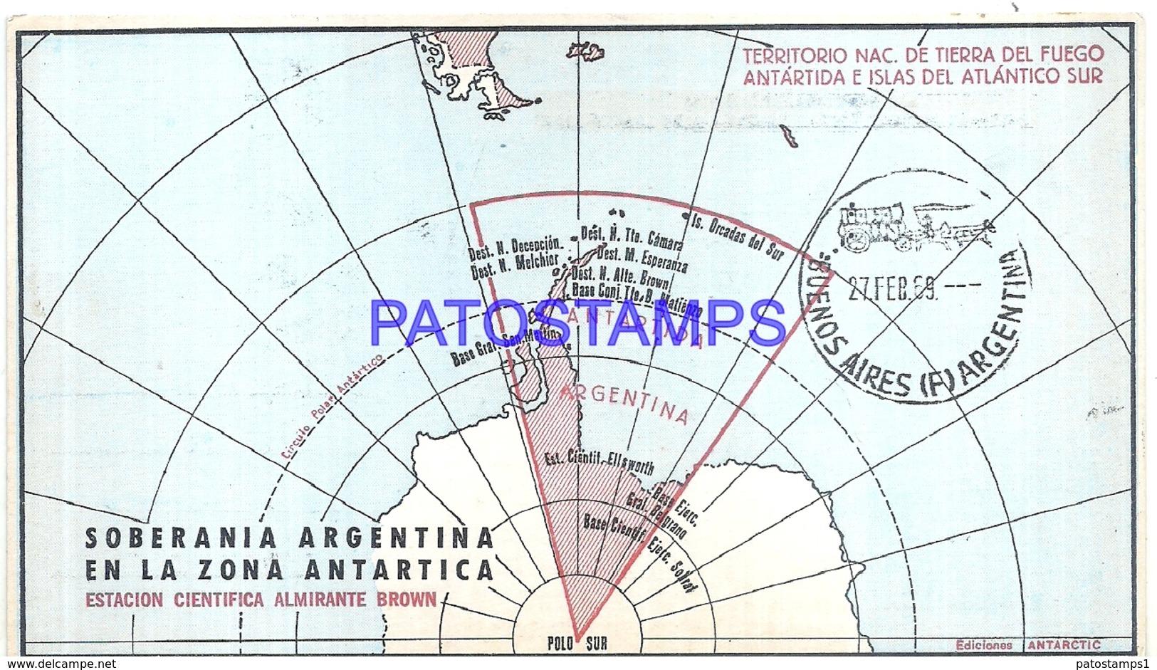 117445 ARGENTINA ANTARTIDA ANTARCTICA ESTACION CIENTIFICA ALMIRANTE BROWN MAP MAPA 1969 CIRCULATED TO BS AS NO POSTCARD - Argentina