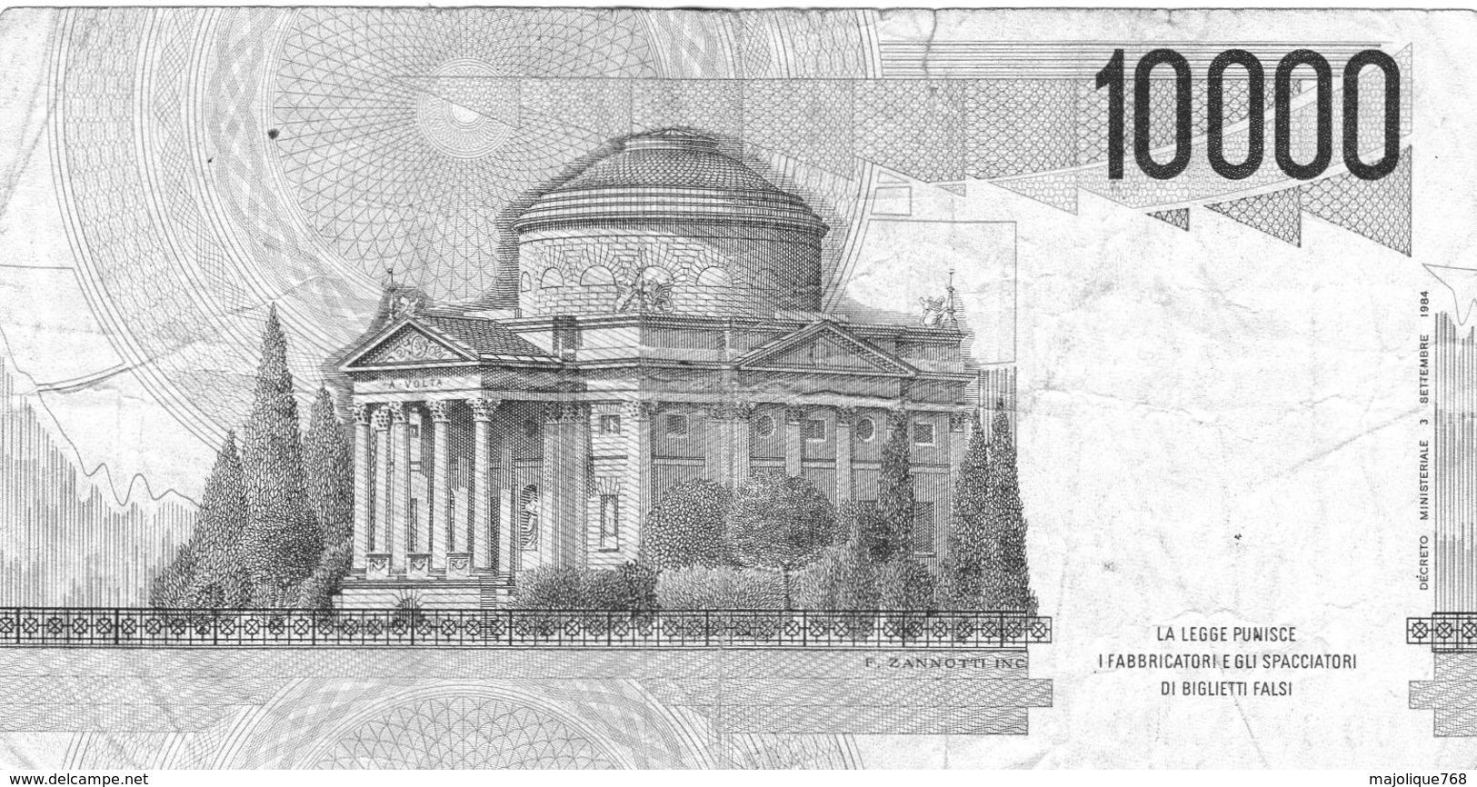 Billet De L'Italie De 10.000 Lire Le 3 Septembre 1984 En T T B + - Signature Cam - 100.000 Lire