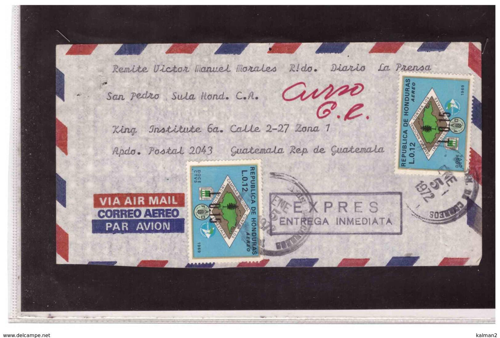 TEM9815   -   HONDURAS   /    LETTER WITH INTERESTING POSTAGE - Honduras