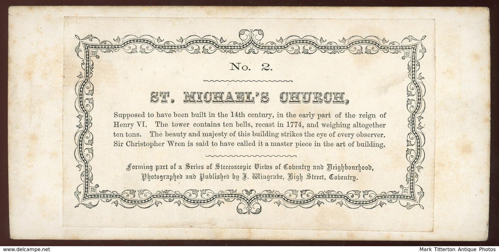 Stereoview - St Michael's Church COVENTRY England - Stereoscopi
