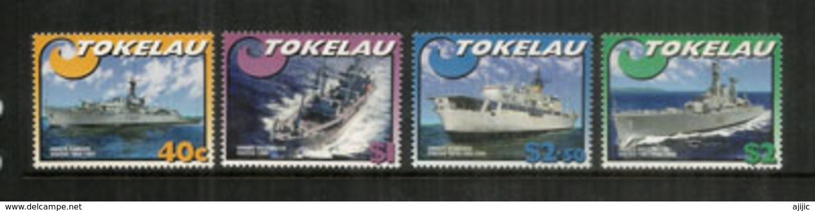 Navires De La New-Zealand Navy.Visit To Tokelau Islands,Tropical Coral Atolls. Océan Pacifique. 4 Timbres Neufs ** 2002 - Tokelau