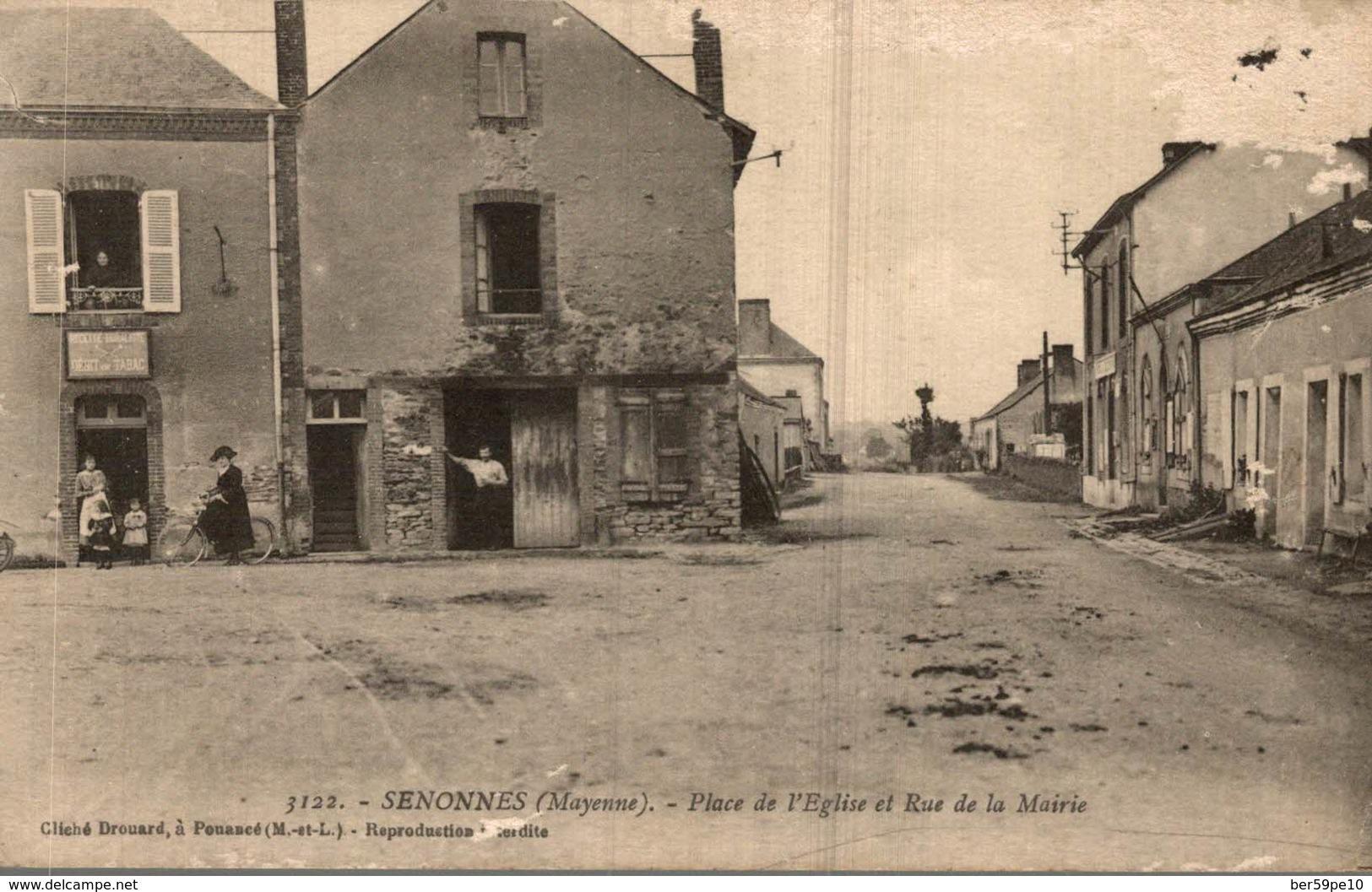 53 SENONNES  PLACE DE L'EGLISE ET RUE DE LA MAIRIE - France