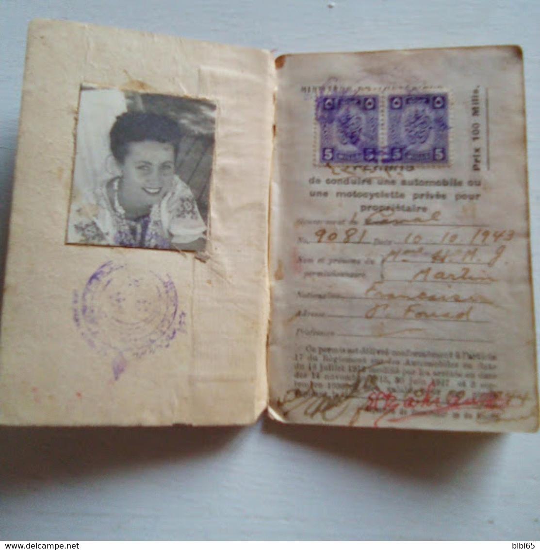 PERMIS DE CONDUIRE EGYPTIEN POUR UNE FRANçAISE  1943 - 4 TIMBRES FISCAUX EGYPTIENS - Transportation