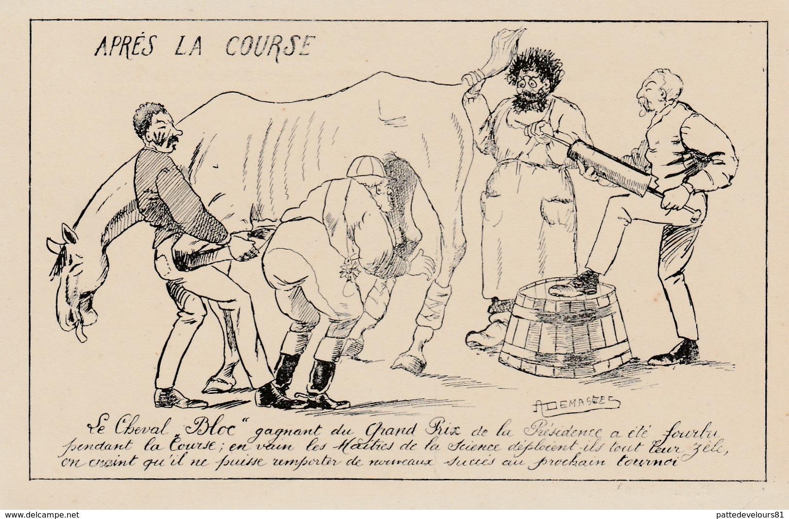 CPA Caricature Satirique COMBES / PELLETTAN Bloc Cheval De Course Clystère Illustrateur A. DEMASRES (2 Scans) - Satiriques