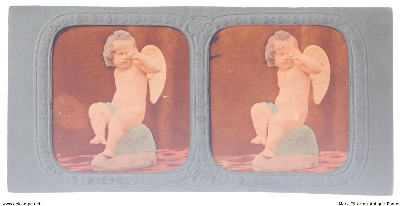 Stereoview - Statute Classical Putti Cherub - Tinted Hold-to-light Tissue View - Stereoscopi