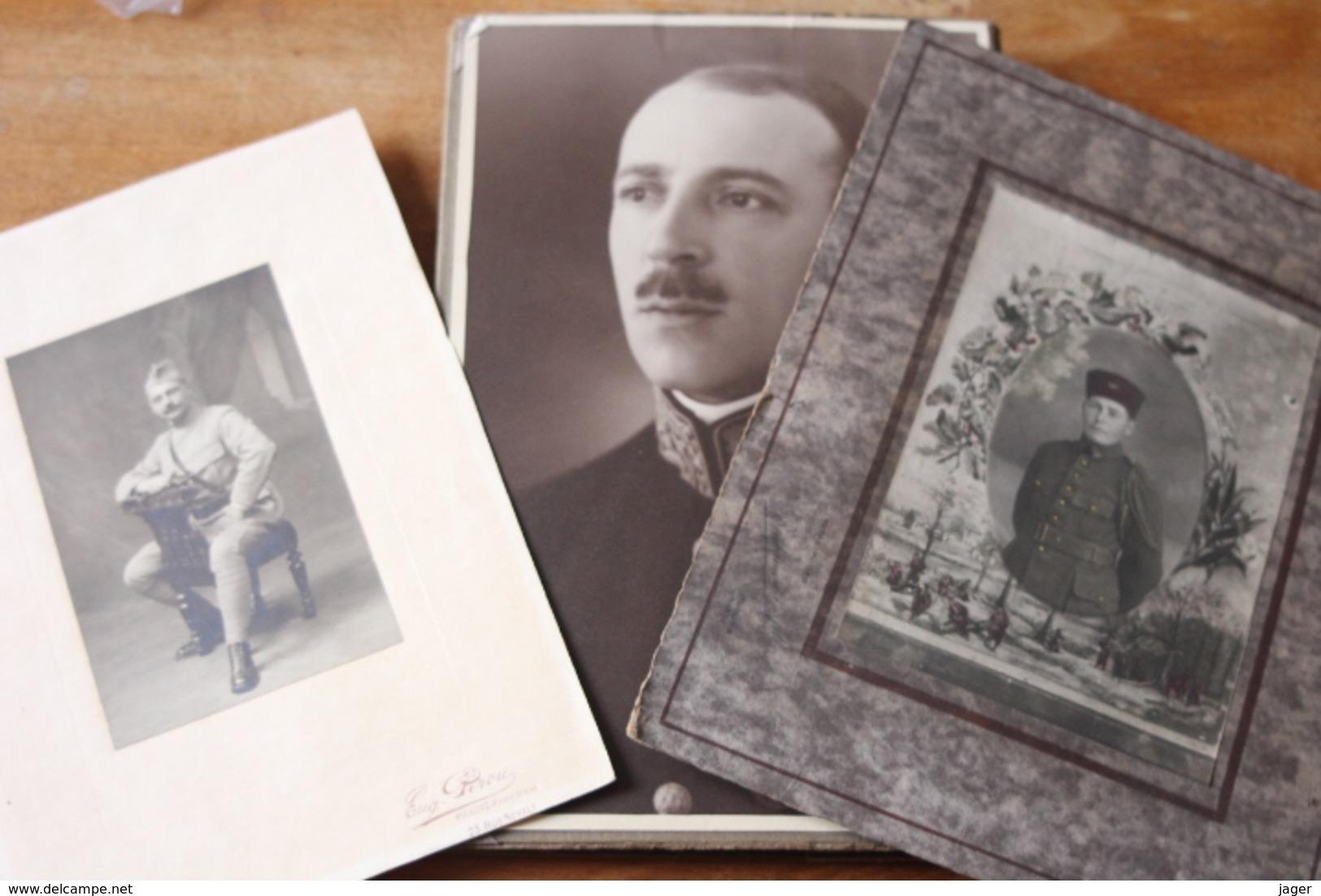 3 Photos Militaires Anciennes  Poilu , Zouave, Medaillé - Oorlog, Militair