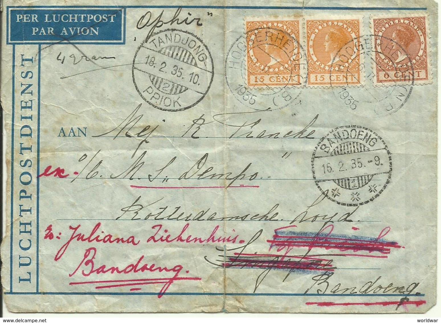 1935  Versleten Luchtpostbrief Van Hoogerheide Naar Schip M.S. Dempo (Singapore) Verder Naar Bandoeng - 1891-1948 (Wilhelmine)