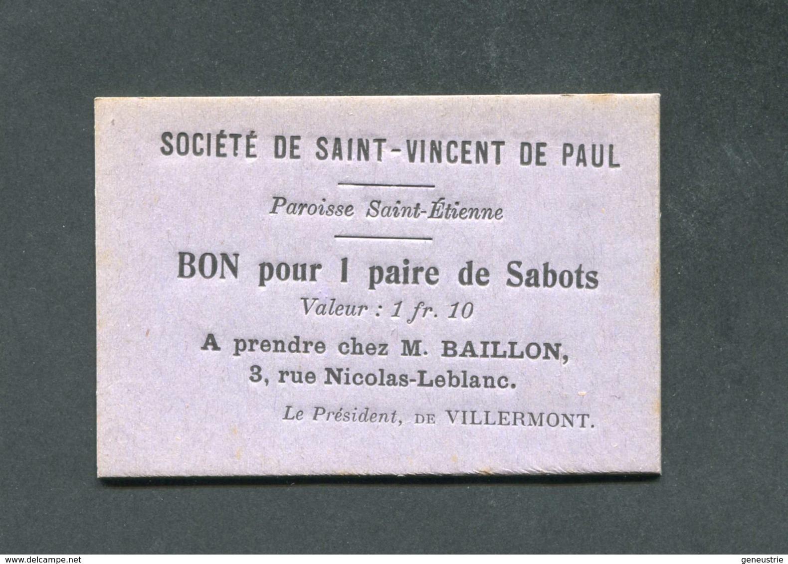 WWI Monnaie De Nécessité Carton Localisé à Bourges (Cher) Bon Pour 1 Paire De Sabots / Sté St Vincent De Paul Jeton WW1 - Monétaires / De Nécessité