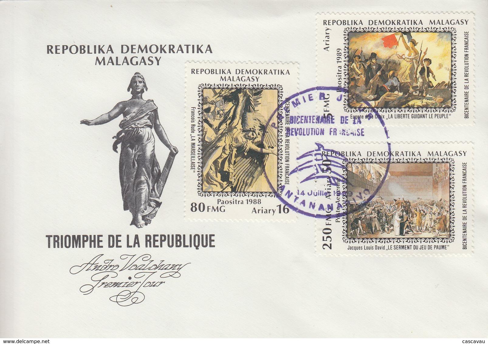 Enveloppe  FDC  1er  Jour   MADAGASCAR    Bicentenaire  De  La   Révolution  Française   PHILEXFRANCE   1989 - Révolution Française