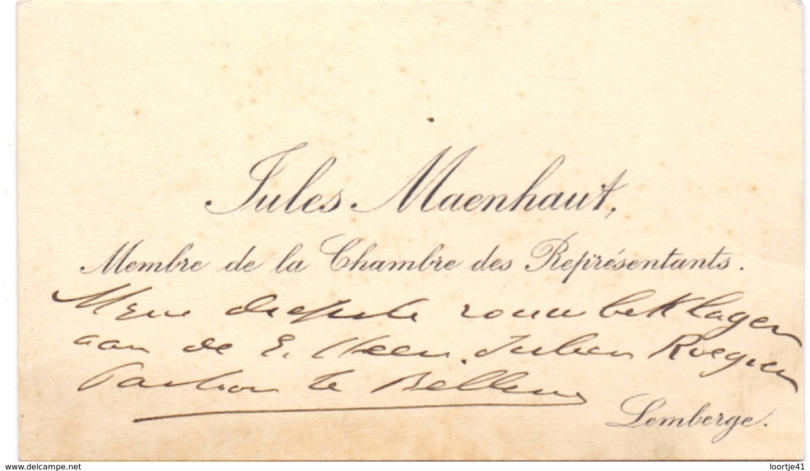 Visitekaartje - Carte Visite - Volksvertegenwoordiger Jules Maenhout - Lemberge - Cartoncini Da Visita