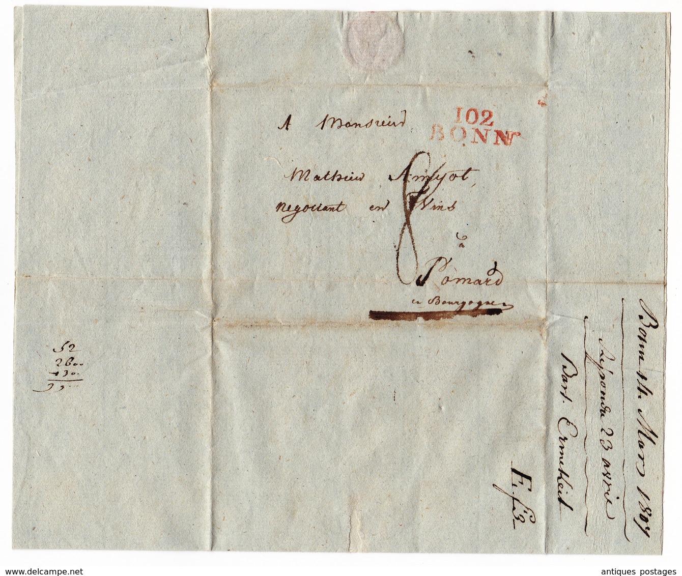 Département Conquis Rhin Et Moselle Bonn Mathieu Amyot Amiot Pommard Vin De Bourgogne Burgundy Wine - 1792-1815: Départements Conquis
