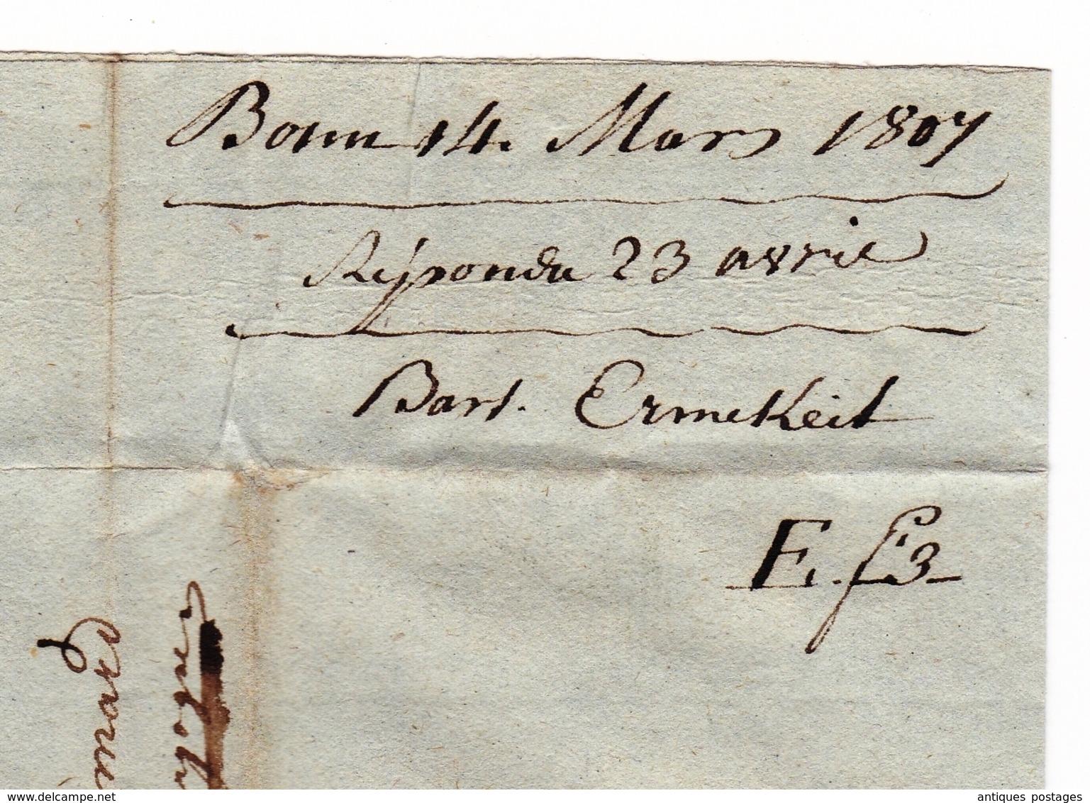 Département Conquis Rhin Et Moselle Bonn Mathieu Amyot Amiot Pommard Vin De Bourgogne Burgundy Wine - Marcophilie (Lettres)