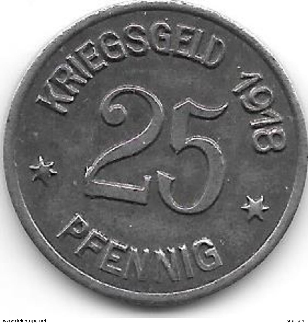 Notgeld Coblenz 25 Pfennig 1918 Fe  2512.4 - [ 2] 1871-1918 : Impero Tedesco