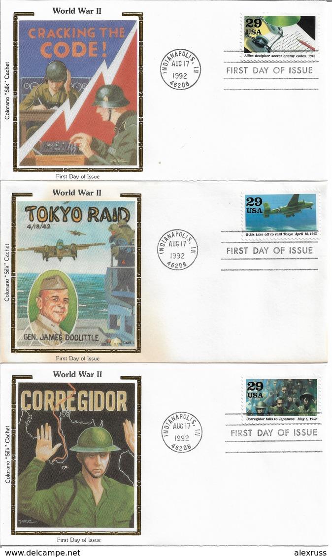 1992 Colorano Silk Cachet 3 FDC WW-2, Tokyo Raid, Cracking The Code, Corregidor, VF-XF !! (RN-8) - WW2