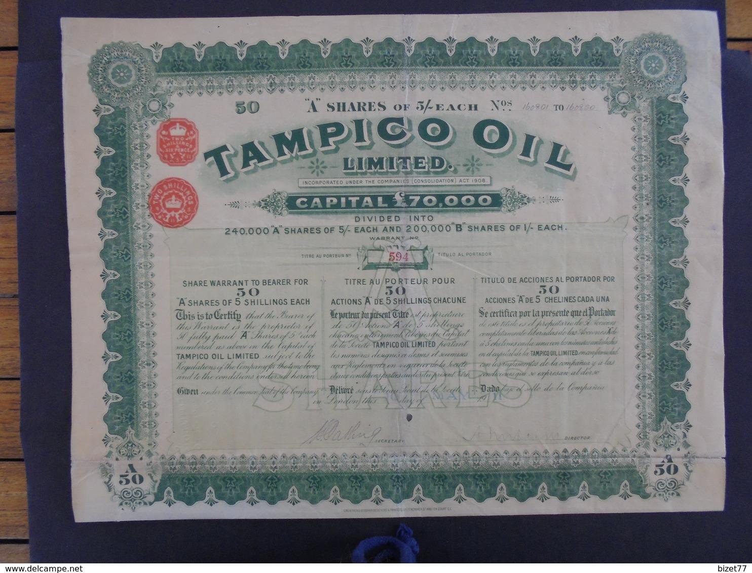 LONDRES 1911 - TAMPICO OIL  - TITRE DE 50 ACTIONS DE 5 £ - GRAND FORMAT - PEU COURANT - Shareholdings