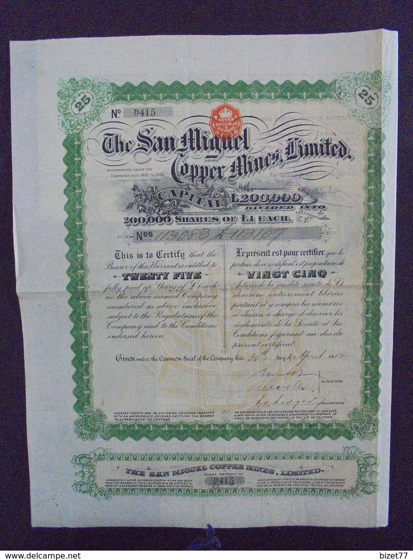 1917 - THE SAN MIGUEL COPPER MINES - TITRE DE 25 ACTIONS DE 1 £ - Shareholdings
