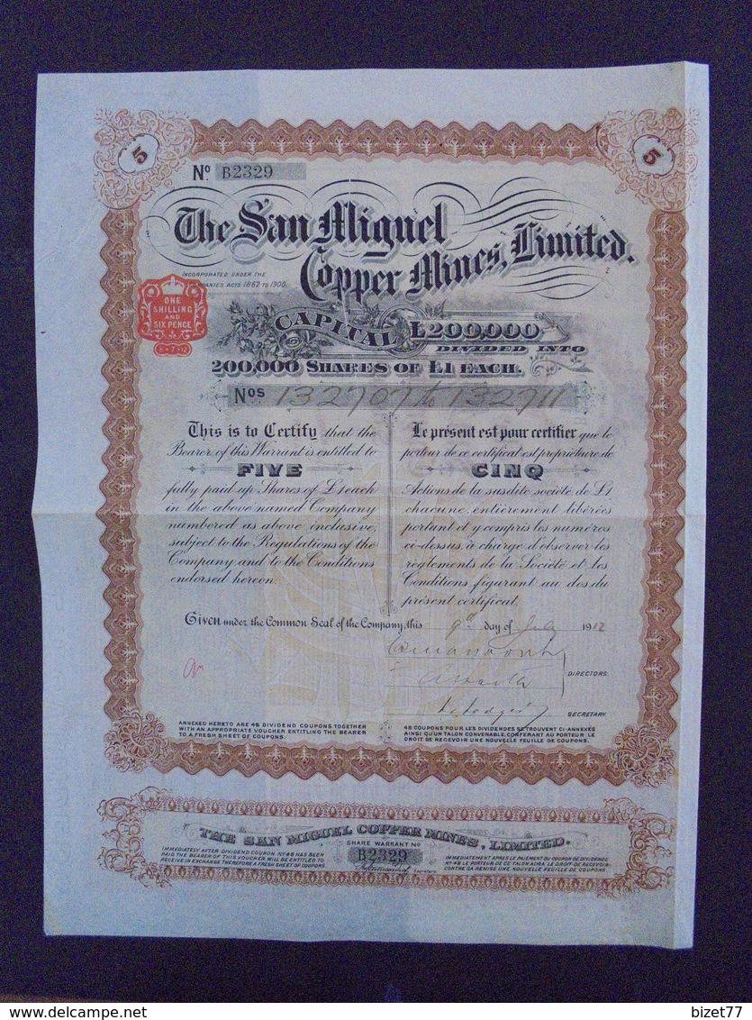 1912 - THE SAN MIGUEL COPPER MINES - TITRE DE 5 ACTIONS DE 1 £ - - Shareholdings