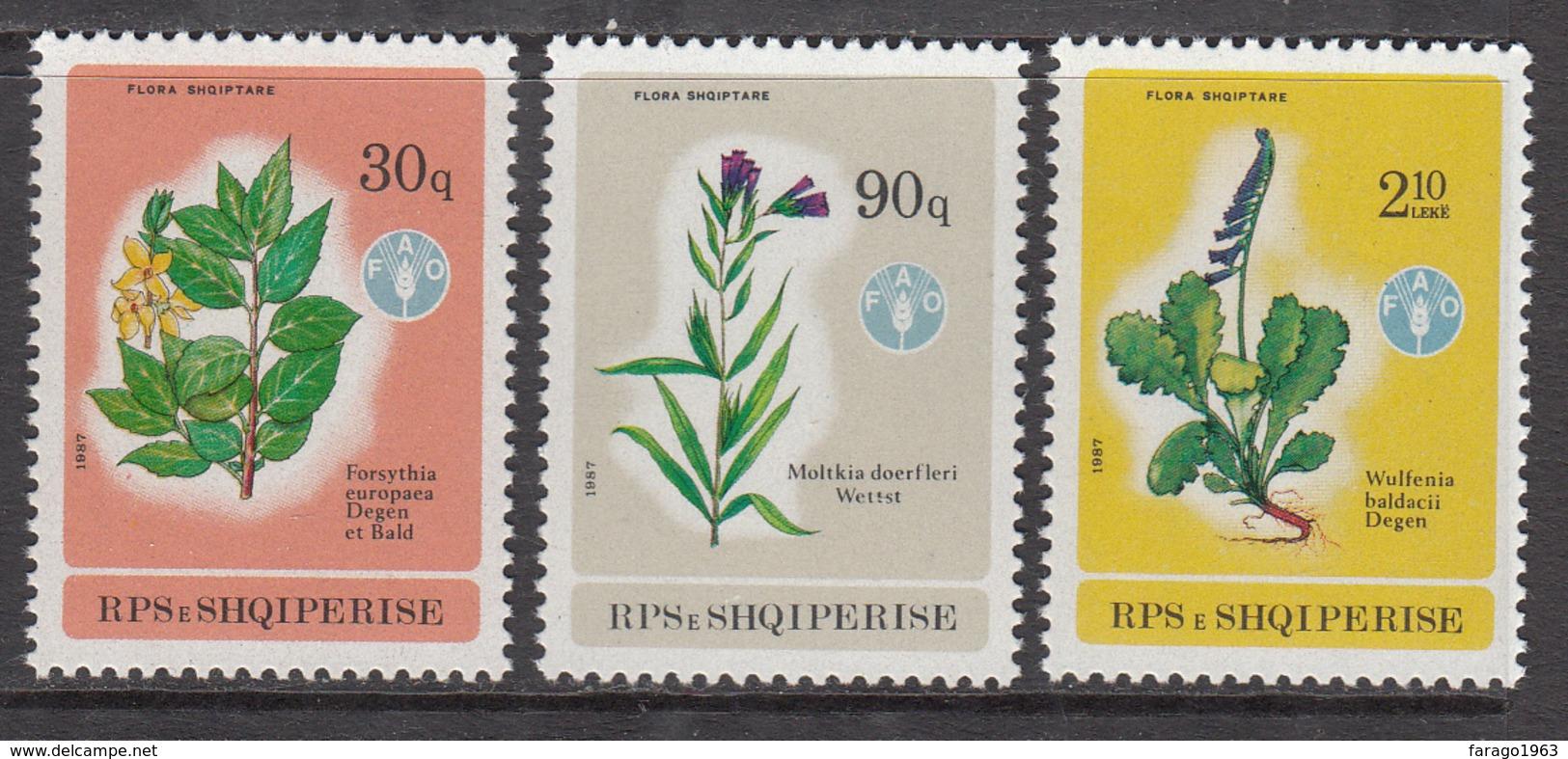 1987 Albania Albanie World Food Day FAO Flora Complete Set Of 3  MNH - Albanië