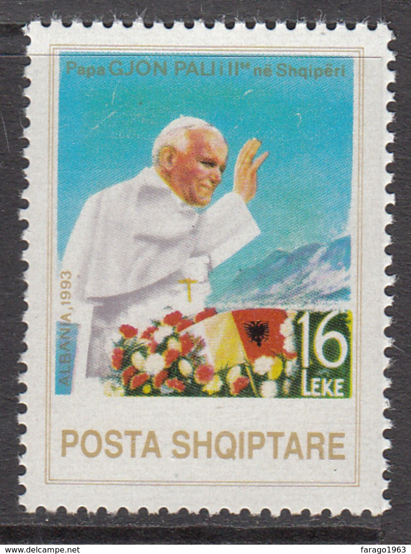 1993 Albania Albanie  Pope John Paul II Complete Set Of 1 MNH - Albania