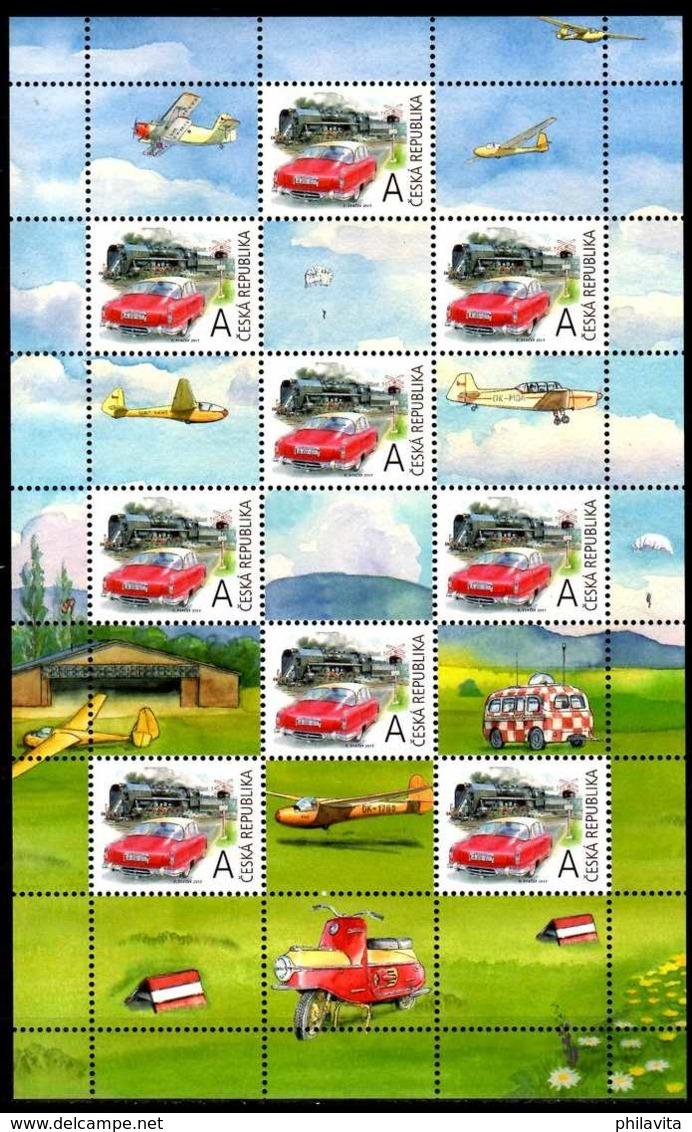 2017 Czech Rep. - Grüss Marke / Greetings Stamps - Oldtime - Cars, Train, Mofa, Glider -SS - MNH** MI KB 948 - Ungebraucht
