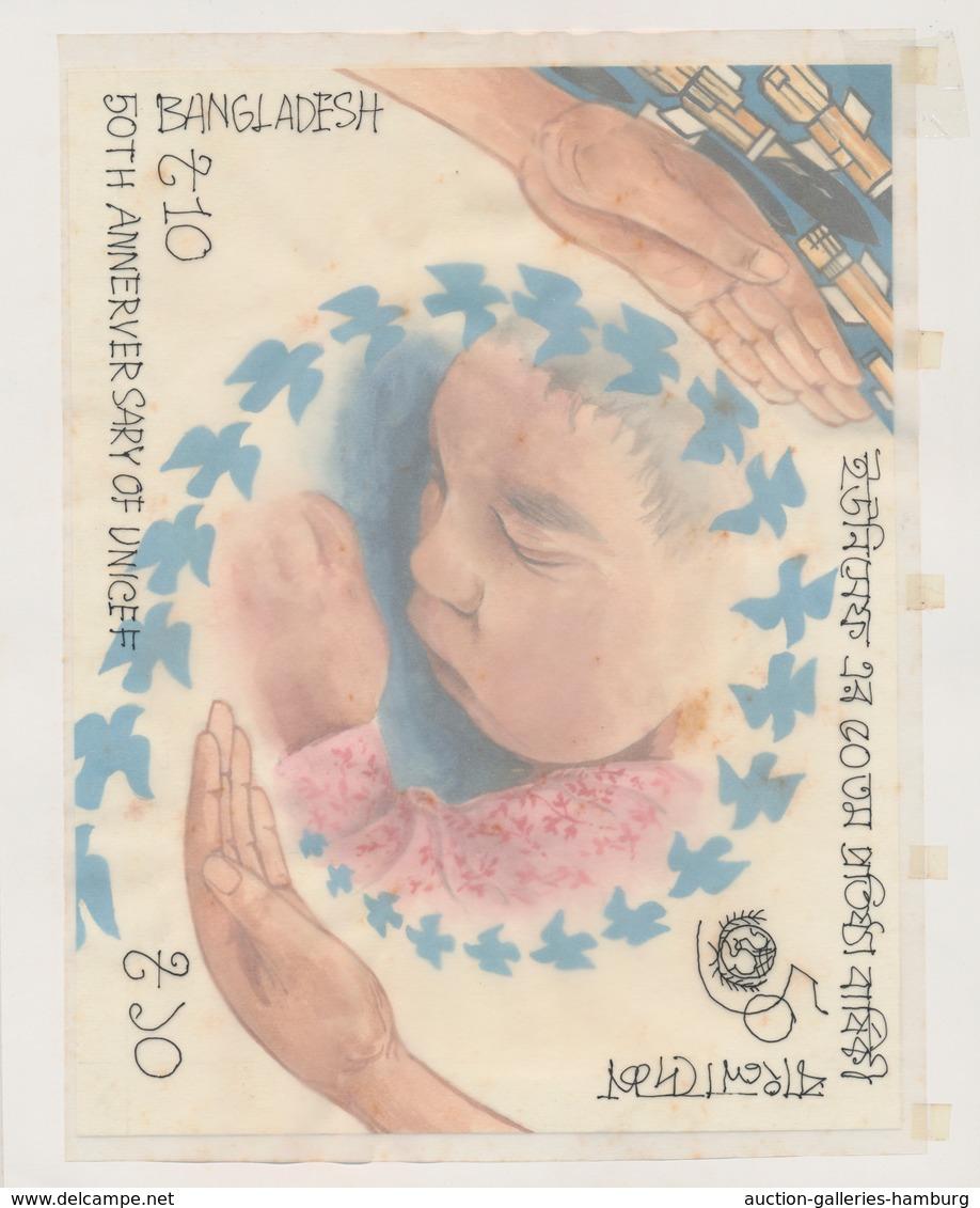 Bangladesch: 1996, ARTWORK, 50 TH ANNEVERSARY OF UNITED NATION, Artist Unadopted Essays For The Both - Bangladesch