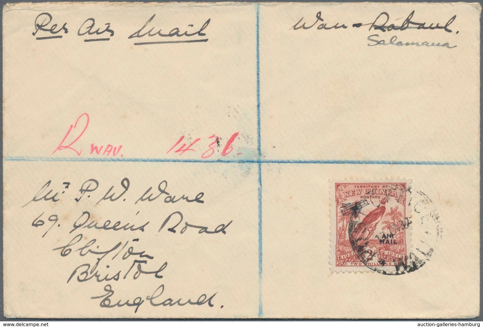 "Neuguinea: 1932, 2 Sh. AIRMAIL OVERPRINT On Registered FIRST FLIGHT LETTER ""WAN-SALAMANA 13.Jan.32"" - Papua-Neuguinea"