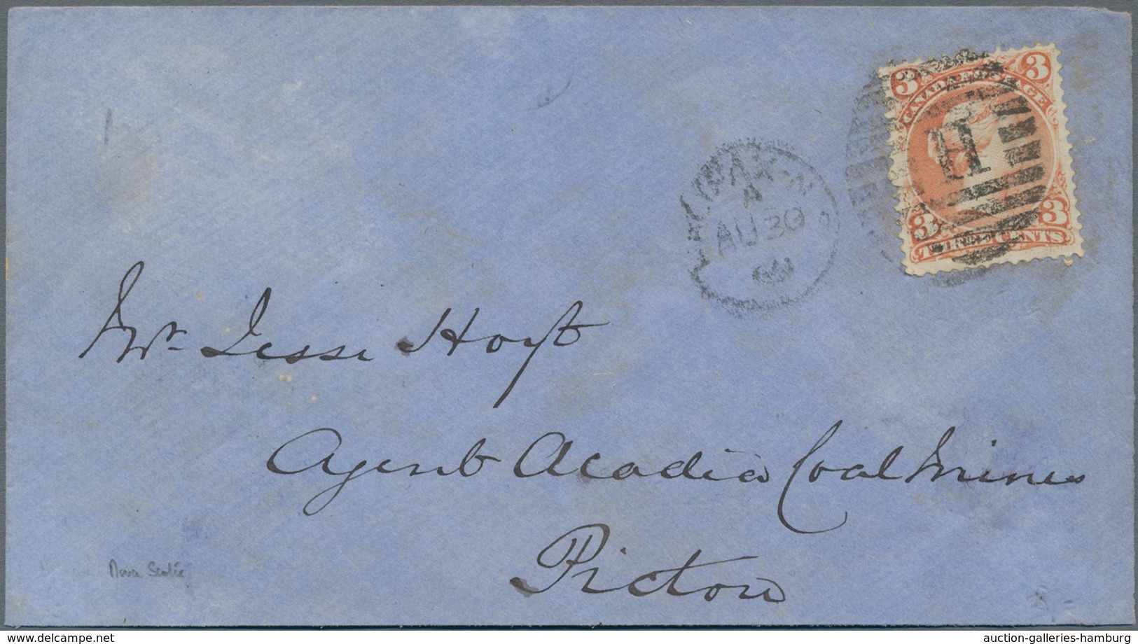 Canada: 1868/69, Six Very Fine Covers, Each Franked With 3 Cent QV Large Type. - Kanada