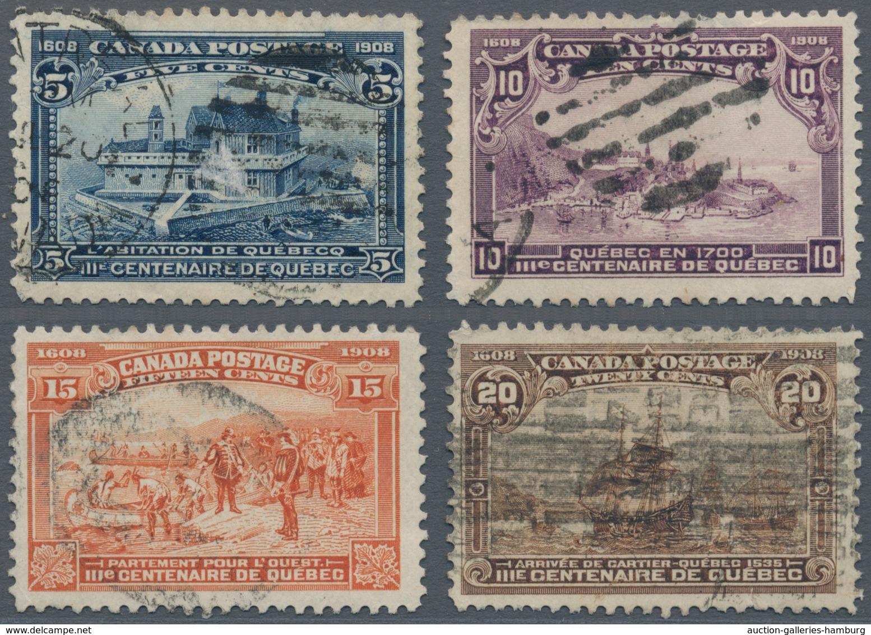 Canada: 1908 'Quebec' 5c., 10c., 15c. And 20c., All Used, The 5c. And 10c. With A Small Tin At Top, - Ohne Zuordnung