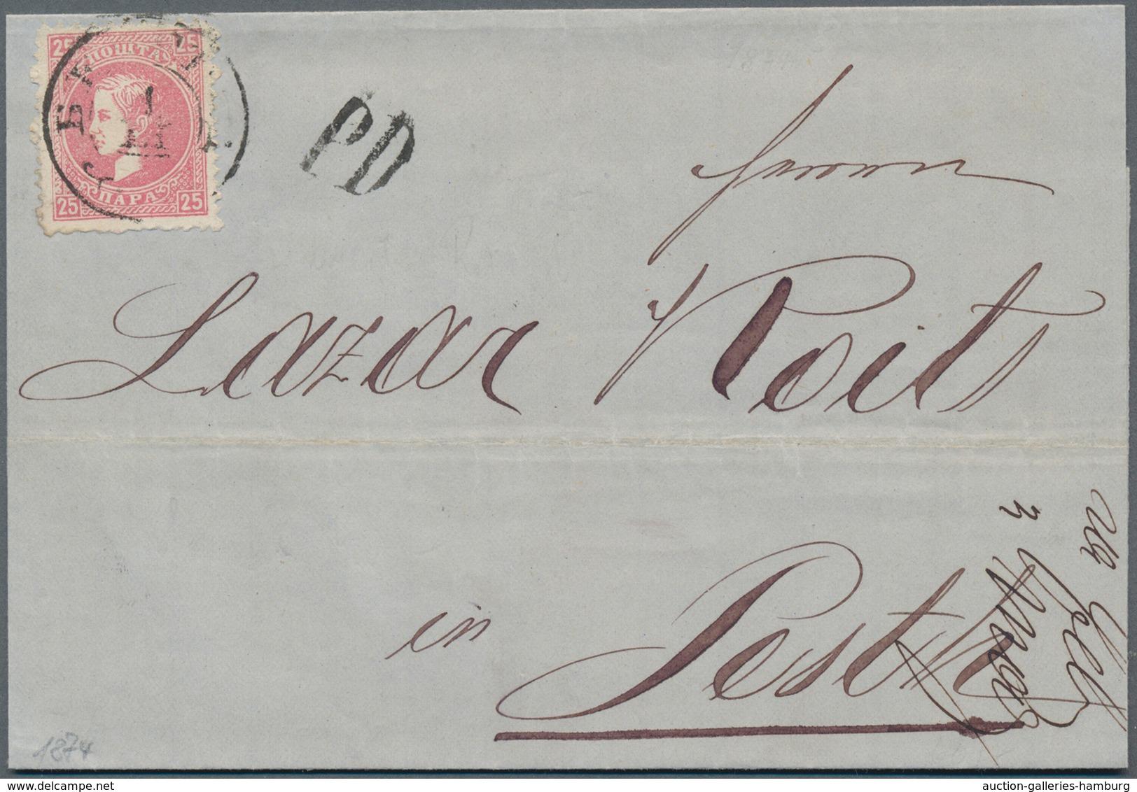 Serbien: 1874, 25 Pa Dull Rose, Perf. 9 1/2 : 12, Single Franking On Folded Letter-sheet From BEOGRA - Serbien