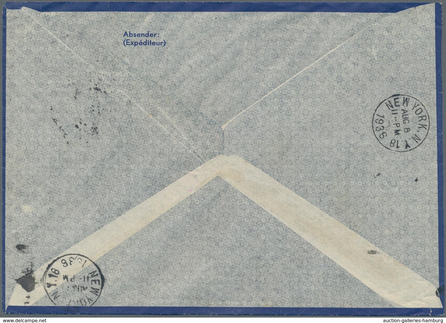 Zeppelinpost Europa: 1936, Olympiafahrt/6.Nordamerikafahrt, Österreichische Post, Auffrankierter Luf - Europe (Other)