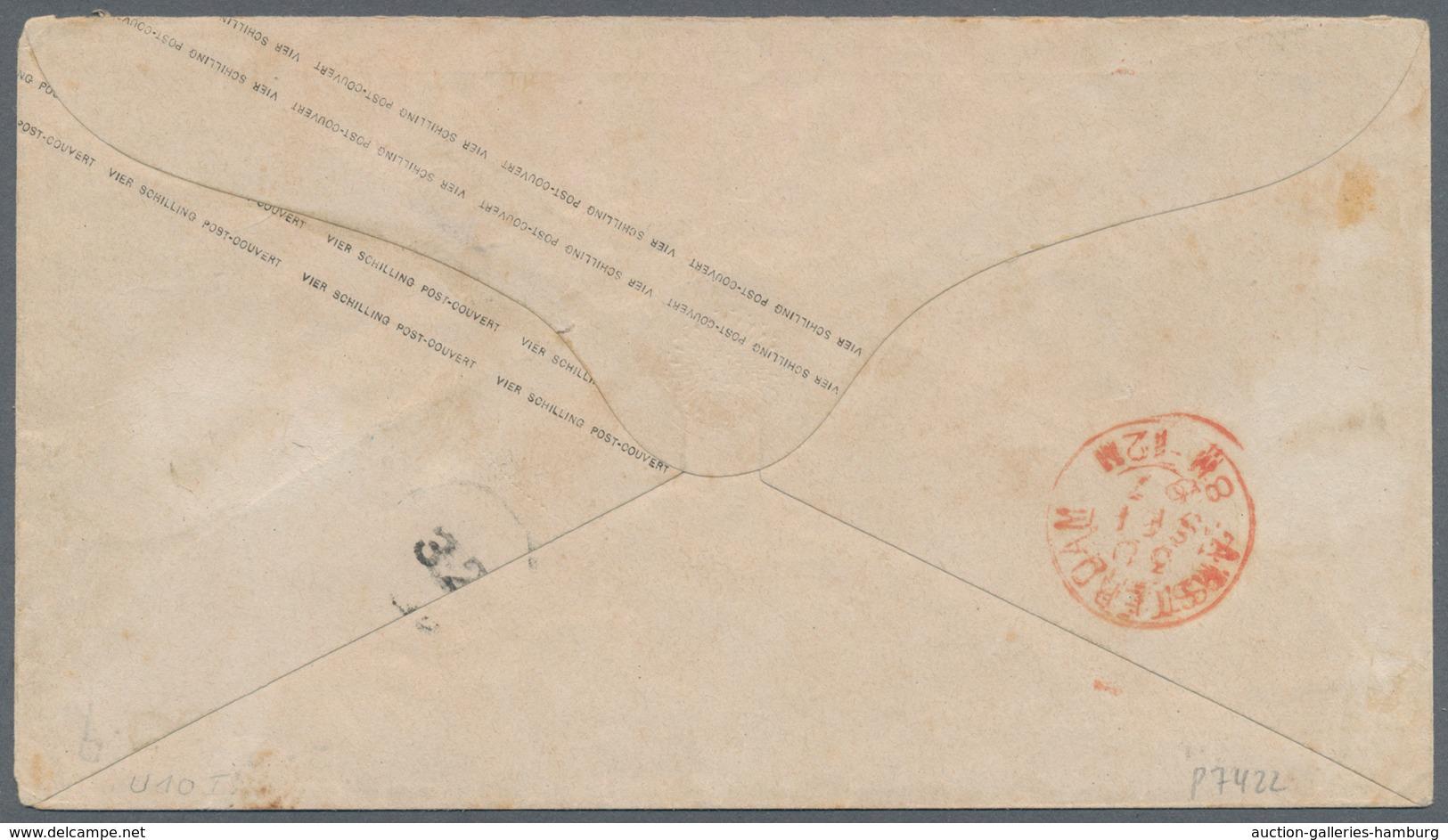 """Hamburg - Ganzsachen: 1867, GA-Umschlag 4 Schilling (minimale Alterstönung) Mit Blauem K2 """"HAMBURG S - Hambourg"""