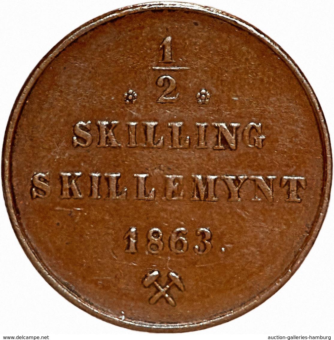 """Norwegen: 1863, """"Carl XV."""" 1/2 Skilling In Sehr Schöner Bis Vorzüglicher Erhaltung. - Norwegen"""
