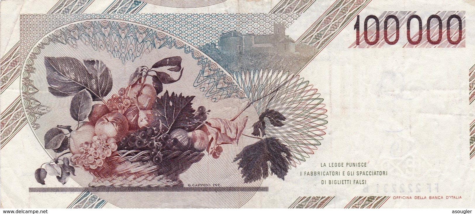 """ITALY 100000 LIRE 1983 P-110a VF """"free Shipping Via Registered Air Mail"""" - 100.000 Lire"""