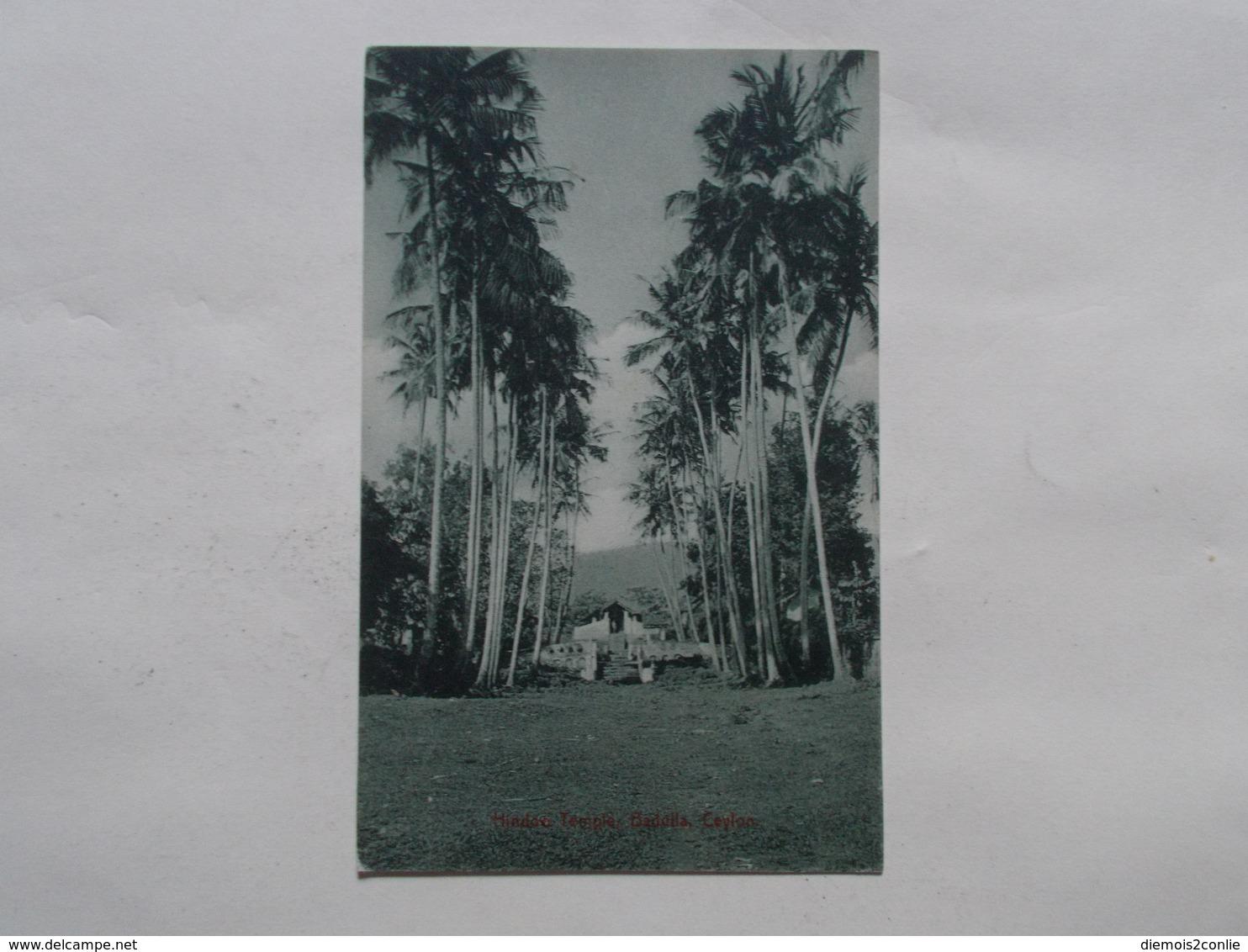 Carte Postale  - CEYLAN - Hindoo - Temple Badulla (3082) - Postcards