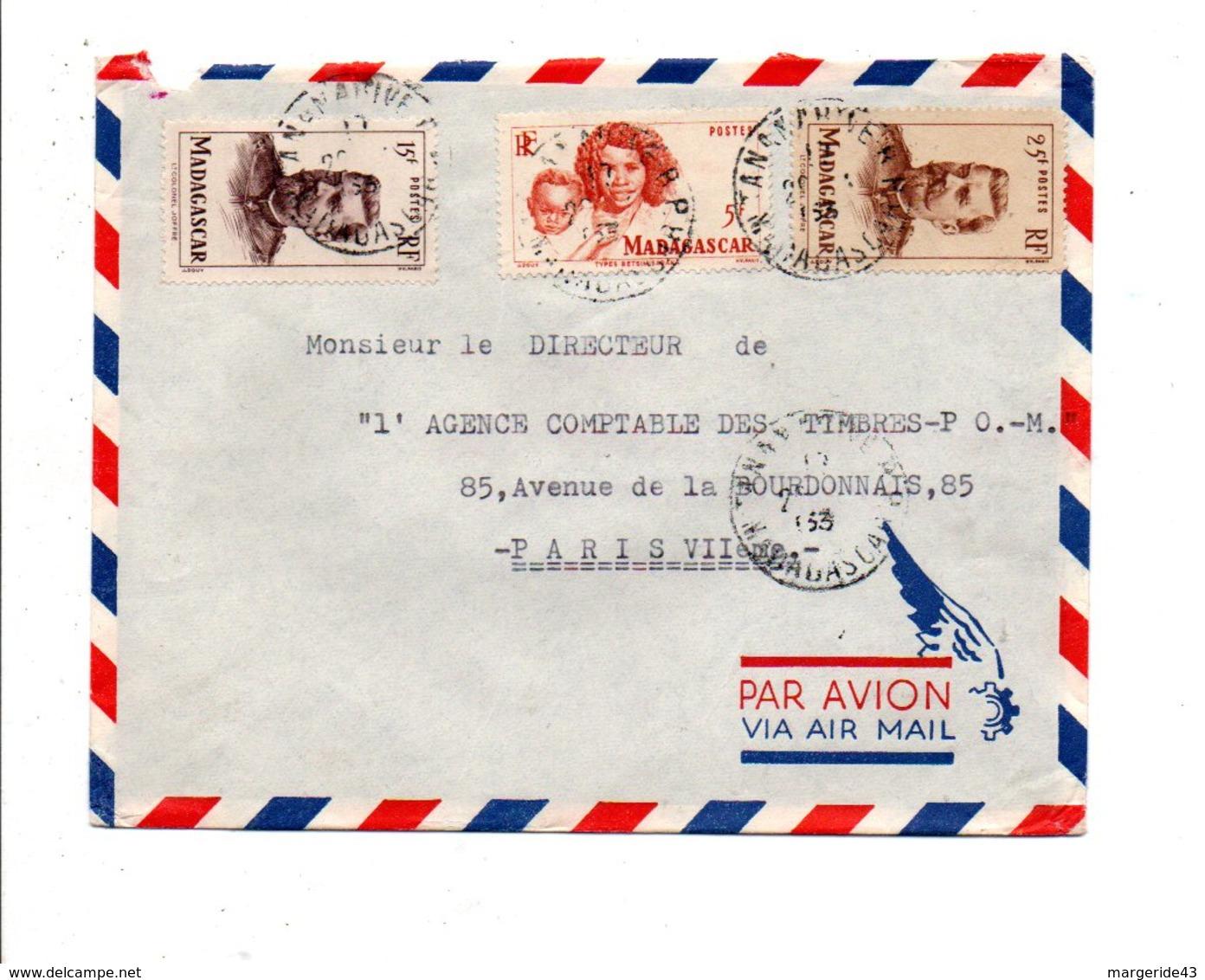 MADAGASCAR AFFRANCHISSEMENT COMPOSE SUR LETTRE POUR LA FRANCE 1953 - Lettres & Documents