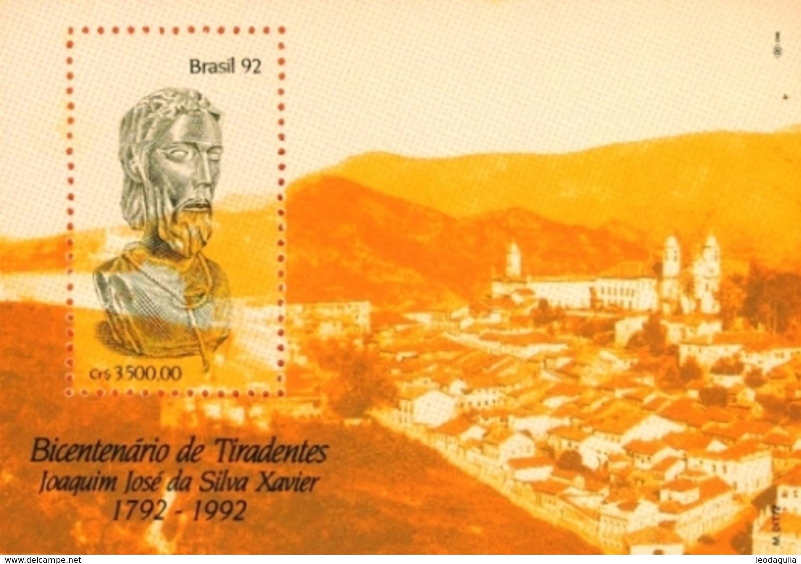 BRAZIL #2378  - HOMMAGE TO TIRADENTES  -  INCONFIDENCE HEROE -1992 - Unused Stamps