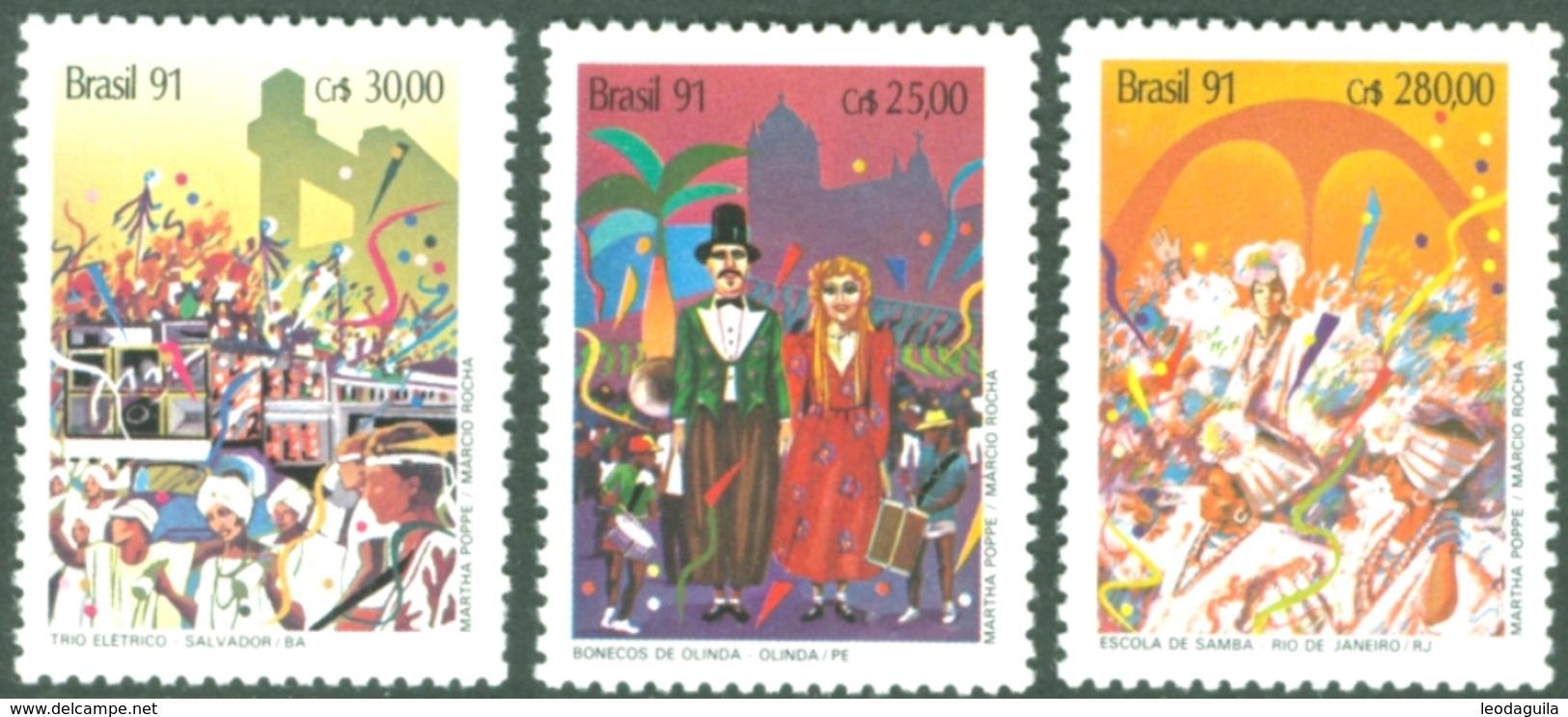 BRAZIL #2301-3   CARNAVAL  ( MARDI GRAS ) 3v -  1991   MINT - Brazil