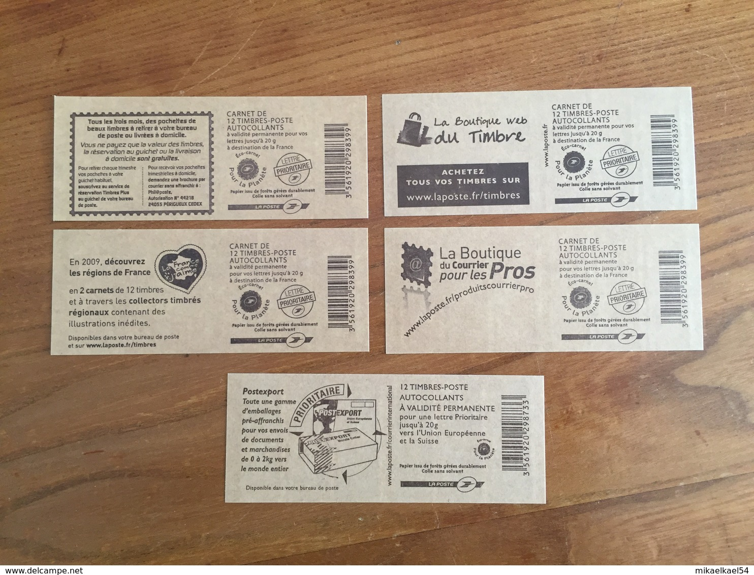 SERIE COMPLÈTE De 5 CARNETS MARIANNE émis En 2009 : 4 Carnets Rouges, 1 Carnet Bleu - Neufs ** - Usage Courant